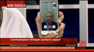 Still frame taken from video shows Turkey's President Tayyip Erdogan speaking via a Facetime video connection to address the nation during an attempted coup, in Marmais